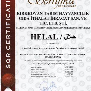 KIRKKOVAN PROPOLİS HELAL BELGESİ